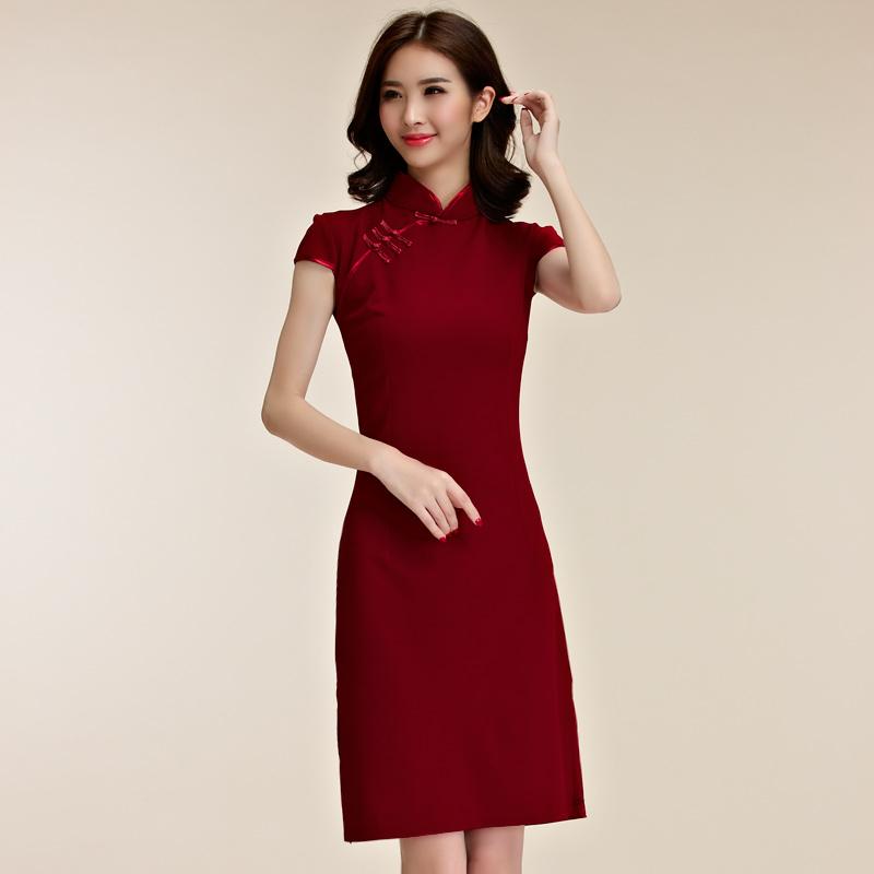 復古風秀氣短袖唐裝改良式旗袍禮服~謝師宴洋裝~美之札