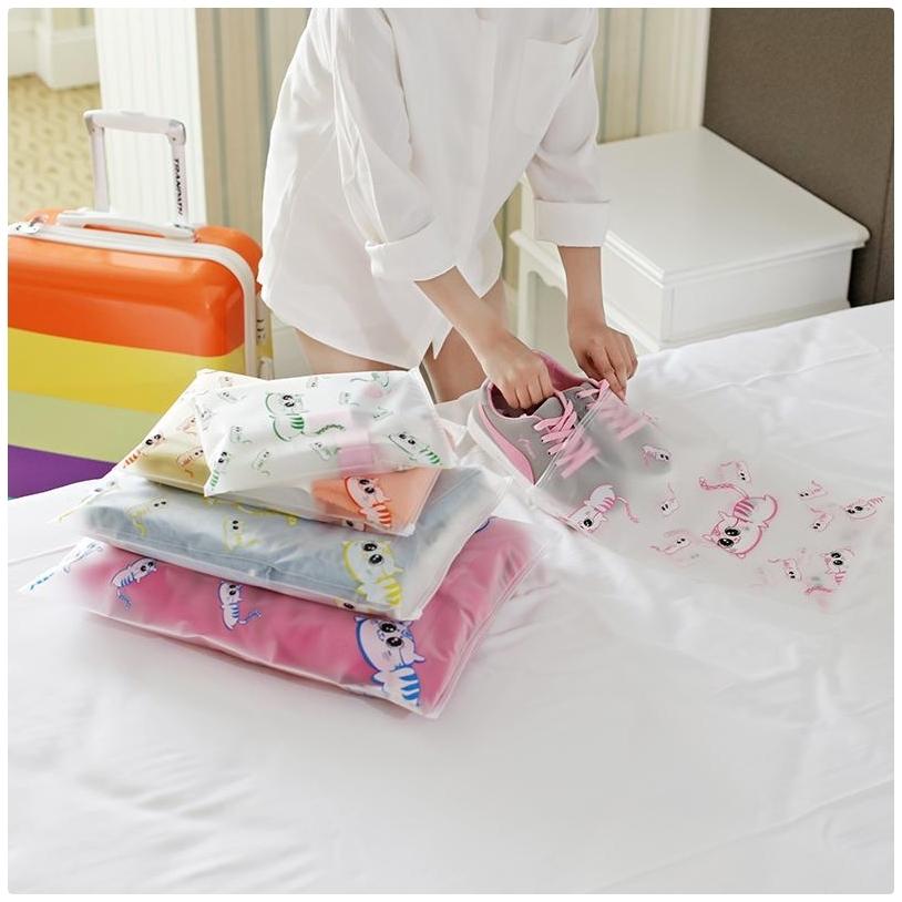 【貓咪夾鏈袋大號】旅行防水套 收納袋 衣物鞋子洗漱保養品收納包   密封袋 封口袋 防水袋
