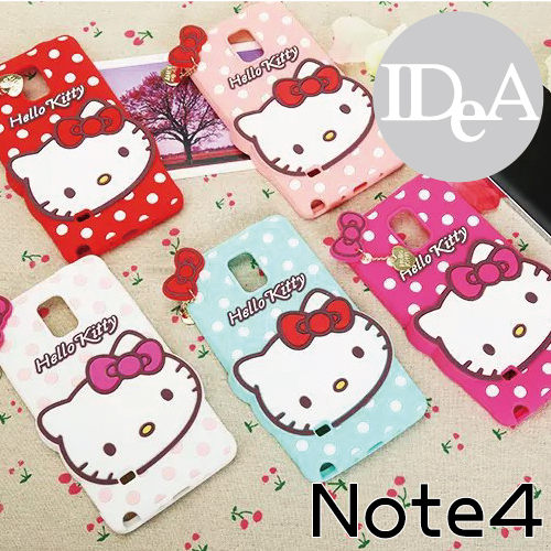 Sanrio 三麗歐 Note4 Hello Kitty 凱蒂貓 蝴蝶結點點矽膠保護套 KT 水玉波點手機軟殼 三星 Samsung N4 N9100