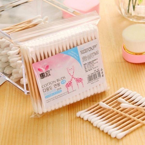 【2包入】一次性雙頭木軸棉花棒 化妝棉棒 200支(100x2包)