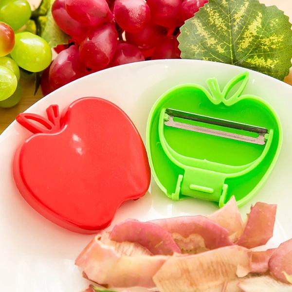 MY COLOR蘋果造型可折疊削皮刀不鏽鋼瓜果蔬果刮皮廚房刀具去皮便攜去皮器L63-2
