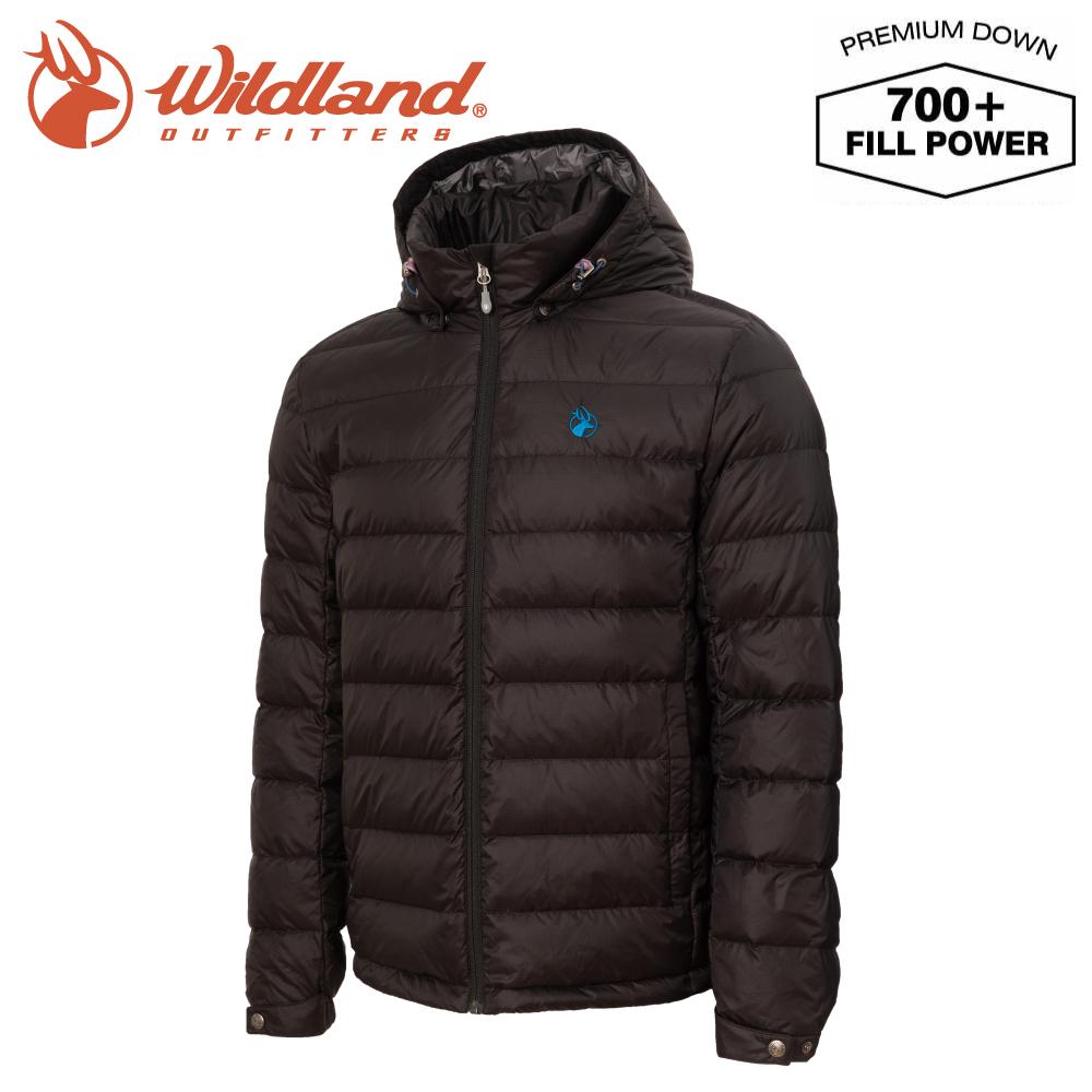 【Wildland 荒野 男 收納枕拆帽極暖鵝絨外套《亮黑》】0A72102/輕量羽絨衣/保暖夾克/防風禦寒外套