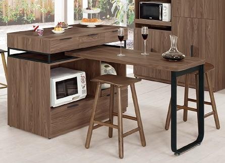 【森可家居】諾艾爾4尺中島型多功能餐桌櫃 6CM921-1 餐櫃 木紋質感 工業風