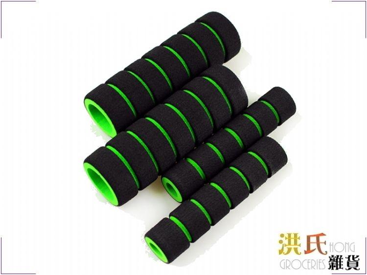 【洪氏雜貨】   233A032-3   橫條大小海棉   綠色一組入(把手套*2 煞車拉桿套*2)