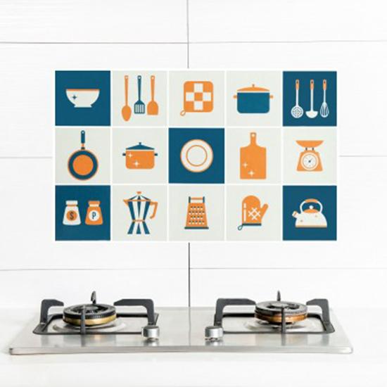 米菈生活館M181印花卡通防油壁貼自黏耐高溫防油污貼紙家用灶台磁磚牆貼