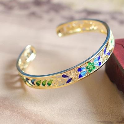 手環925純銀-鍍金琺瑯彩繪開口七夕情人節生日禮物女手鐲73na49時尚巴黎