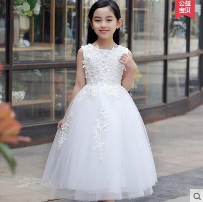 兒童禮服女花童禮服女童婚紗裙齊地白色兒童晚禮服蓬蓬裙演出服