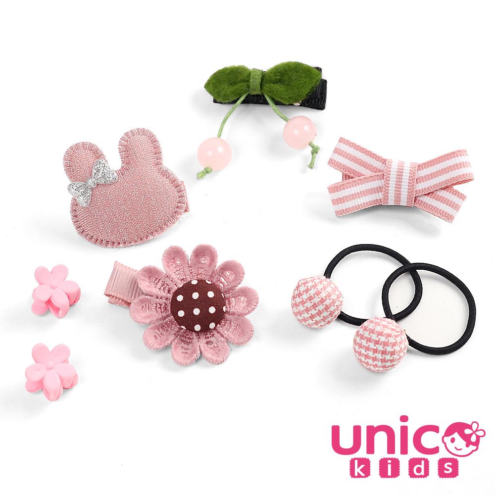 UNICO 兒童 少髮量寶寶甜美色彩安全髮夾髮圈組合-8入組