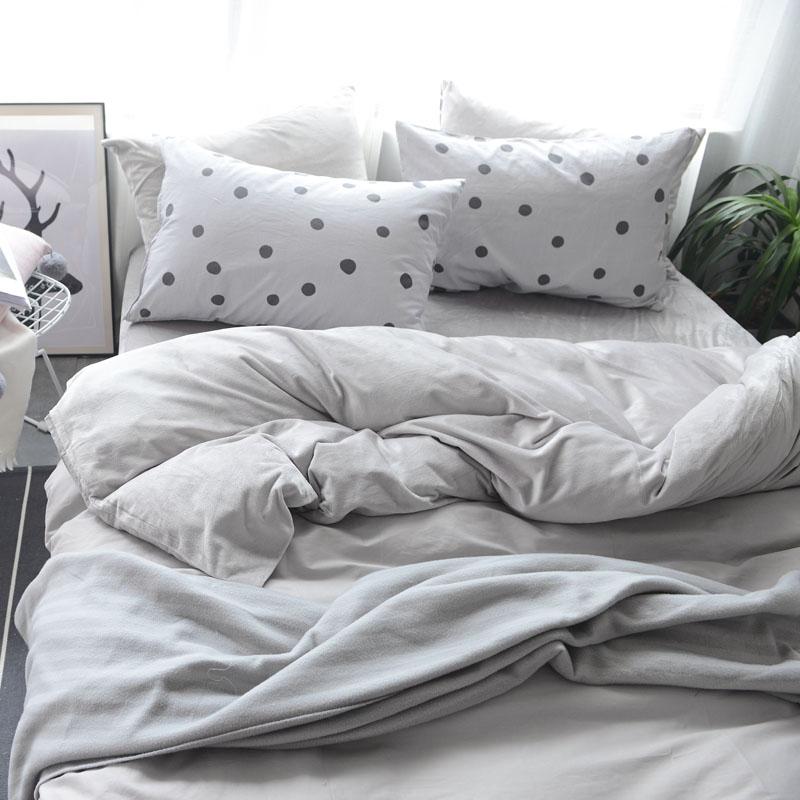 法蘭絨雙人床包清新綠刷毛5尺雙人床包組床包被套枕套兩用被毯ikea床單精梳棉佛你