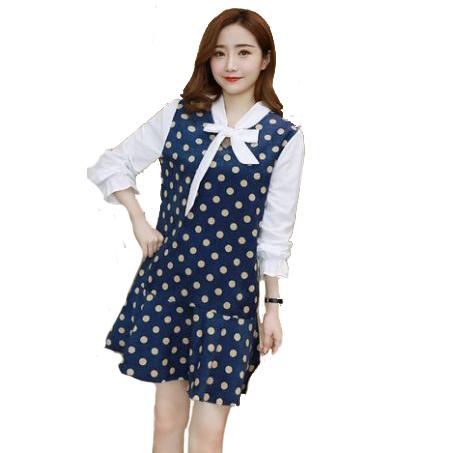 棉綁結領拼接波點燈芯絨魚尾長袖洋裝 (皮粉  藏青)二色售