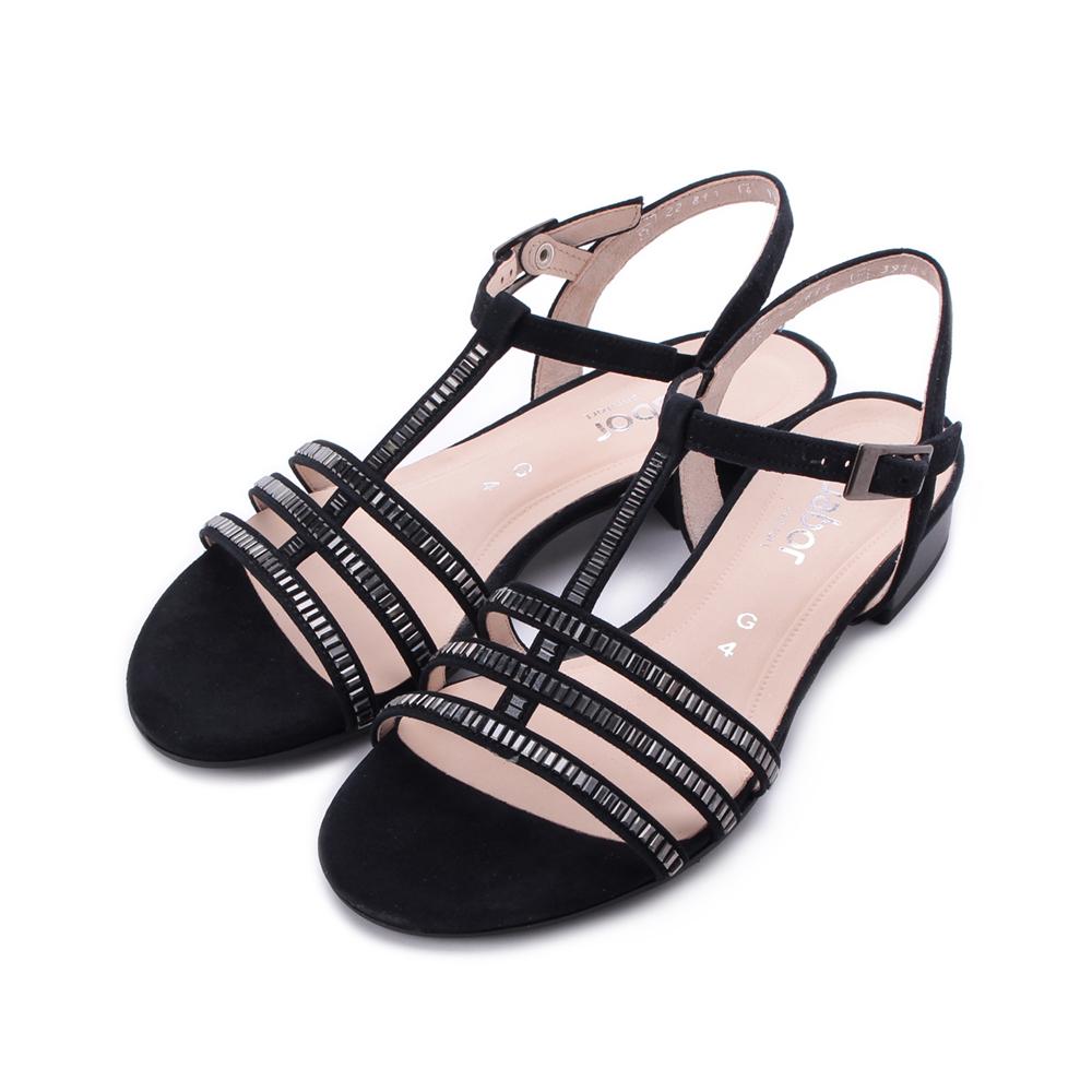 德國 GABOR 小方鑽細帶低跟涼鞋 黑 22.813.26 女鞋