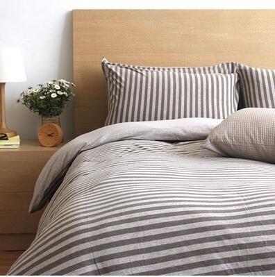 天竺棉四件套純棉簡約條紋床單被套針織棉全棉床笠床上用品中咖中條