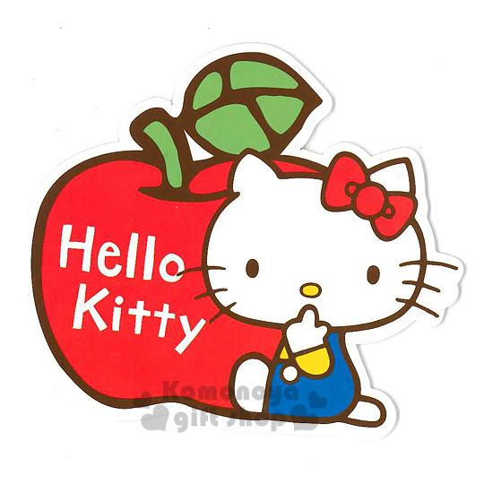 〔小禮堂〕Hello Kitty 造型硬式萬用卡片《紅.蘋果.坐姿》附信封 4714581-22529