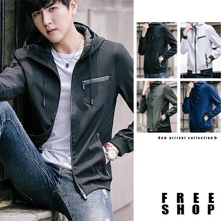 Free Shop立領夾克連帽外套素色太空領防風設計修身版型SLIM FIT顯瘦設計韓版薄外套QAACW7133
