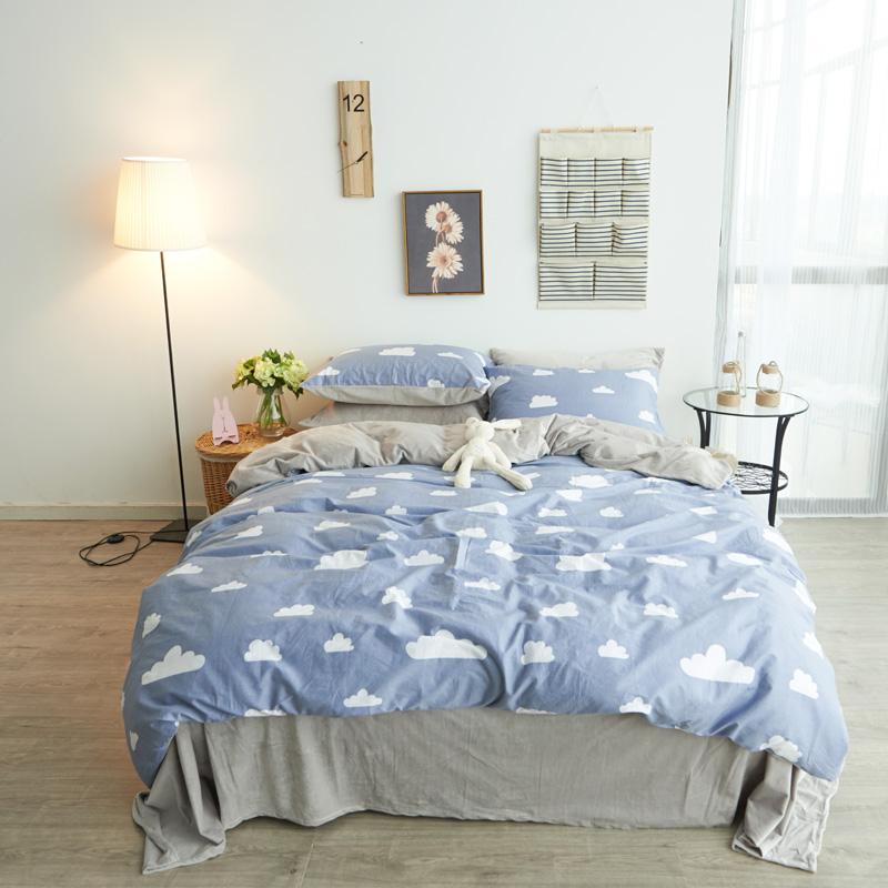 法蘭絨雙人床包雲端刷毛5尺雙人床包組床包被套枕套兩用被毯ikea床單精梳棉佛你