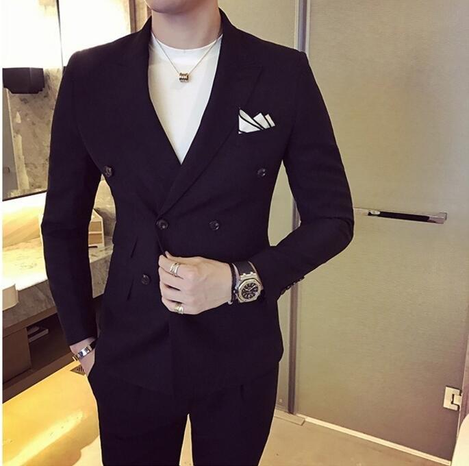 找到自己品牌韓國男雙排扣西裝外套穿搭兩件式套裝成套西裝西裝修身外套褲子