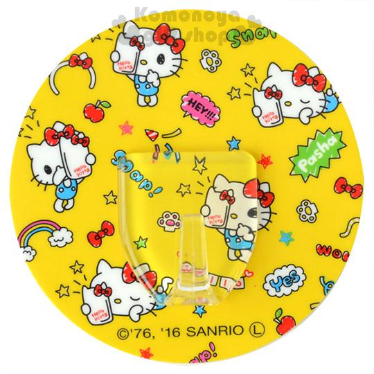 〔小禮堂〕Hello Kitty 日製貼式掛勾《圓型.黃.多自拍姿勢.手繪風》耐重1.5公斤 4956810-86239