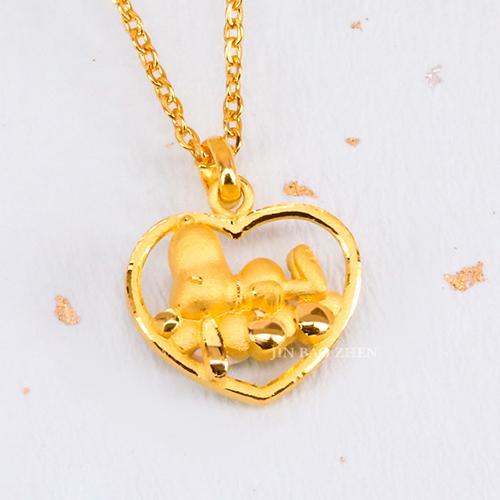史努比SNOOPY-甜蜜蜜史努比-黃金墜子加贈金色鋼鍊