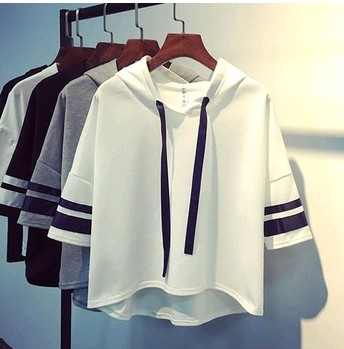 EASON SHOP GU2943前短後長條紋袖連帽短袖T恤五分袖女上衣白色棉T抽繩夏季韓版寬鬆套頭薄外套帽T