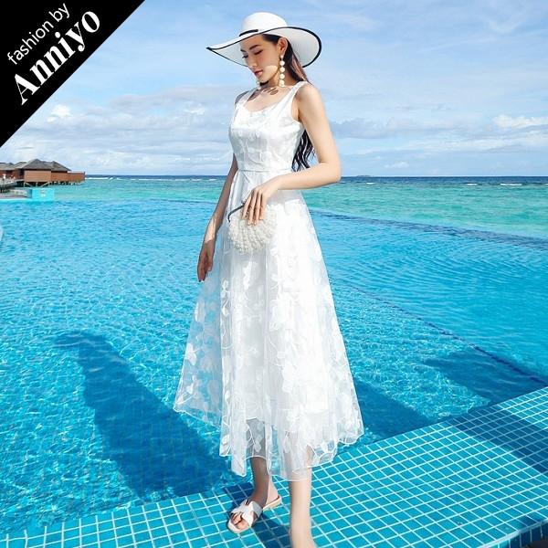 Anniyo安妞無袖氣質修身顯瘦波西米亞純色水溶蕾絲連衣裙海邊度假沙灘裙長洋裝白色