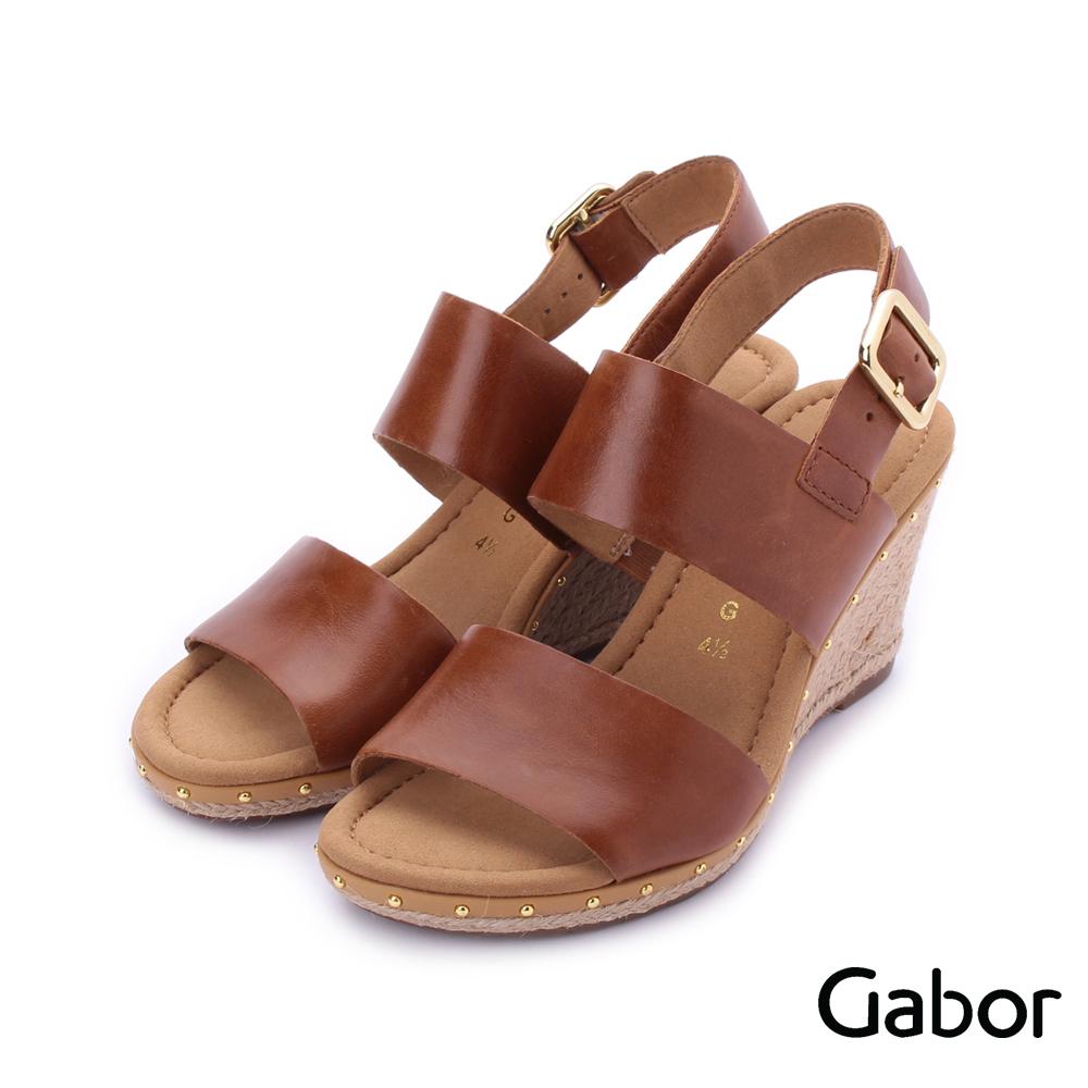 德國GABOR 皮革雙寬帶繞踝楔型涼鞋 棕 82.827.54 女鞋