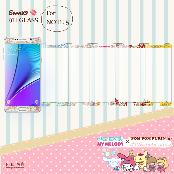 FEEL時尚NOTE5 N9208 9H正版三麗鷗美樂蒂雙子星布丁狗大耳狗浮雕彩繪鋼化玻璃螢幕貼手機保護膜