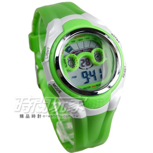 MINGRUI輕便多功能計時腕錶學生電子錶兒童手錶女錶鬧鈴日期冷光照明MR8580綠