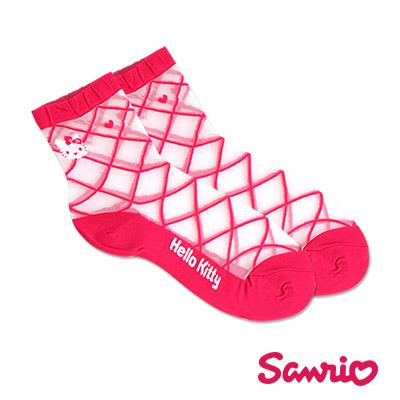 三麗鷗Hello Kitty涼感透膚蠶絲短襪/造型女襪(綁帶)-共4色