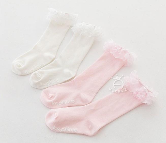 愛寶貝韓系KACAKiD新款甜美公主襪防滑中筒小腿襪地板襪學步襪嬰兒襪0-2歲適用