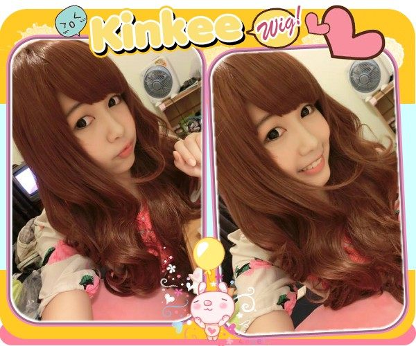 Kinkee假髮日本街頭正妹風超正捲度耐熱中長捲髮假髮K0058