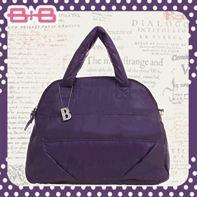 時尚B媽媽空氣包-紫尿布墊保溫袋大空間肩揹側背媽咪包HAPPY B B E-B-95158B-P