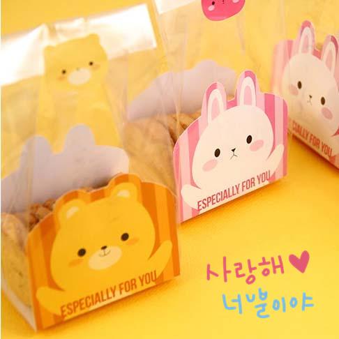 48入 小熊兔子雙面立體袋 平口袋 紙墊 磨砂食品袋 包裝袋 點心袋