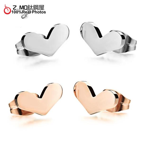 [Z-MO鈦鋼屋]316L鈦鋼打造/愛心造型/女孩甜美風格/典雅設計/見面禮物一對價【EKS293】