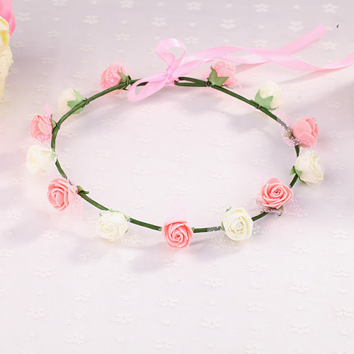 森女新娘婚紗寫真拍照攝影頭飾玫瑰花環發箍發帶海邊沙灘發飾(PE13花)─預購CH1678