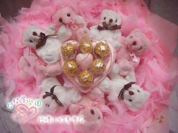 娃娃屋樂園~粉真心愛你-8隻小熊金莎巧克力羽毛花束每束990元婚禮小物花束商品金莎花束