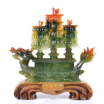 一帆風順帆船擺件玉龍舟船模型家居飾品商務饋贈開業送領導禮品