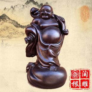 黑檀木財源滾滾如意彌勒佛像