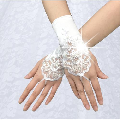【新娘造型.婚慶喜宴】新娘手套(指套型)絲質電繡緞帶珍珠/短版(一雙)白色 [46634]
