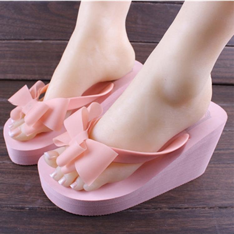 ZUCAS~日韓版蝴蝶結人字拖鞋厚底超高跟夾腳坡跟沙灘拖鞋M-729