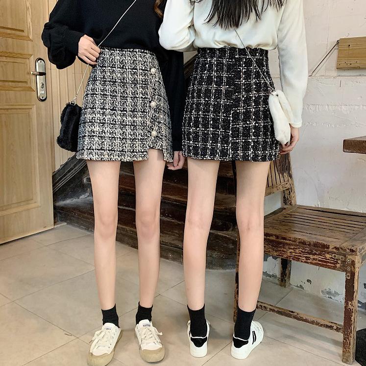 香奈兒風毛呢格紋A字短裙 (黑  卡其) 11942025