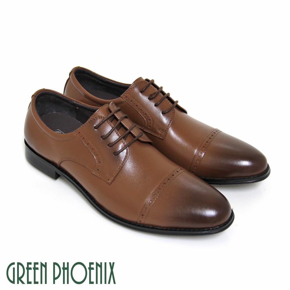 T63-16035男款全真皮紳士皮鞋經典型男渲染極簡綁帶全真皮平底皮鞋GREEN PHOENIX