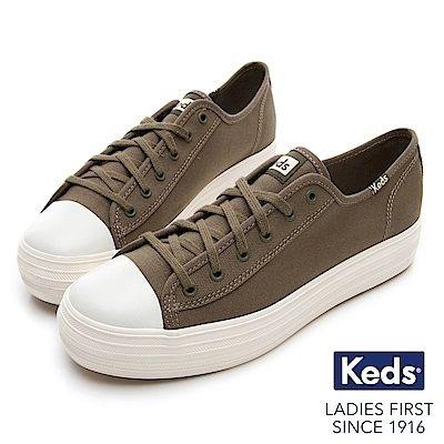 Keds TRIPLE KICK 女款橄欖綠復刻厚底綁帶休閒鞋-NO.9184W132575