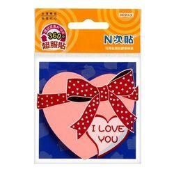 《☆享亮商城☆》61804 (粉紅)環狀膠-愛心造型螢光便條紙