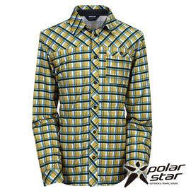 PolarStar男針織格子長袖襯衫土黃P15215