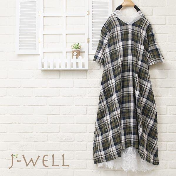 J-WELL 格紋蕾絲洋裝罩衫兩件組(組合361 8J1172+8J1314白)