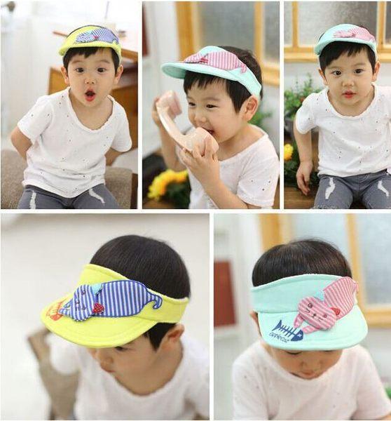 預購韓版個性貓吃魚空頂帽寶寶遮陽帽