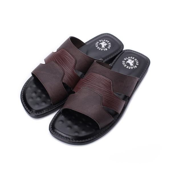 黑騎士 三層套式拖鞋 咖 男鞋 鞋全家福
