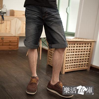 刷白壓皺牛仔七分短褲(共二色)@樂活衣庫【9076-9077】