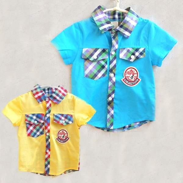 韓版童裝前素面後格子徽章襯衫-黃BM150617012