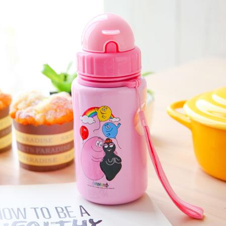 韓國泡泡先生掀蓋吸管式冷飲水壺400ml隨身瓶隨行杯環保杯水瓶水壺兒童水壺